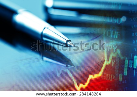 Pen and finance data. Business concept.
