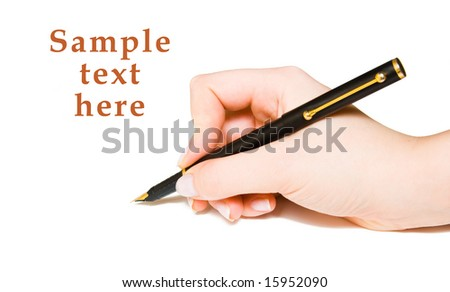 pen and hand copy space for sample text here