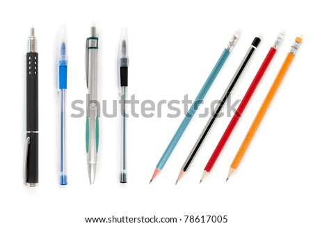 pen and pencil collection isolated on white