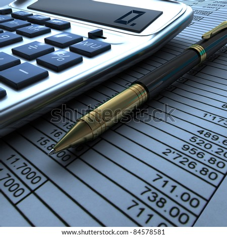 Pen, calculator and finance report