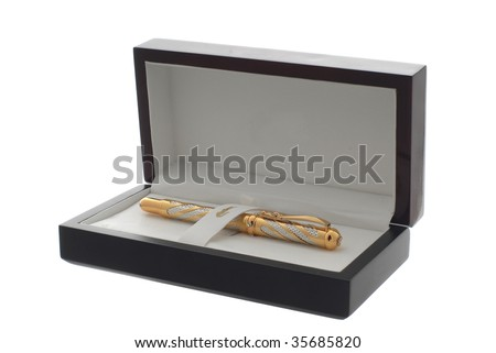 pen in box isolated on white background