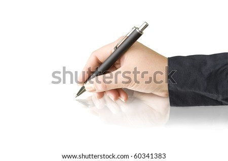 pen in hand and reflection isolated on white