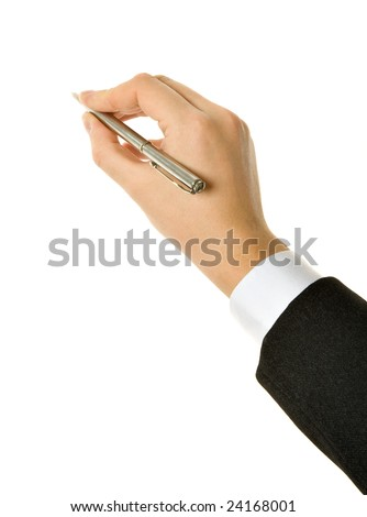 Pen in hand. Isolated on white background