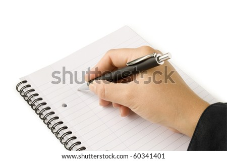 pen in hand writing on the notebook and reflection isolated on white