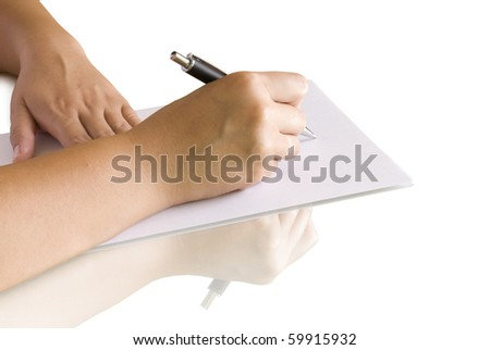 pen in hand writing on the page and reflection - stock photo