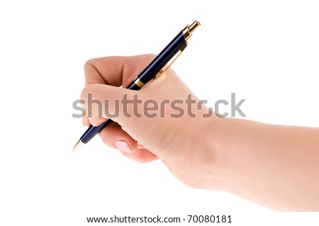 pen in the female hand isolated on white background