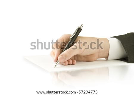 pen in the hand isolated on white and reflection