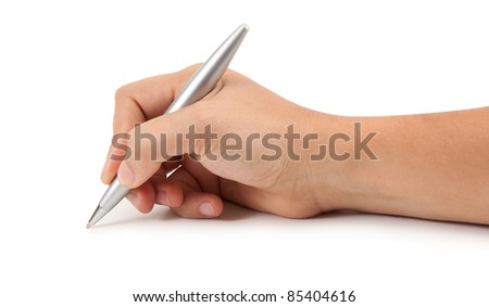 pen in the man's hand isolated on white background - stock photo
