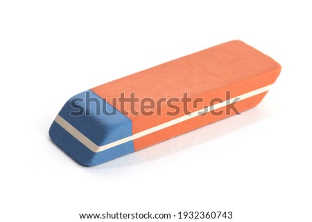 Pen Ink Eraser Isolated on White Background. Erasing concept. Copy space ストックフォト ©