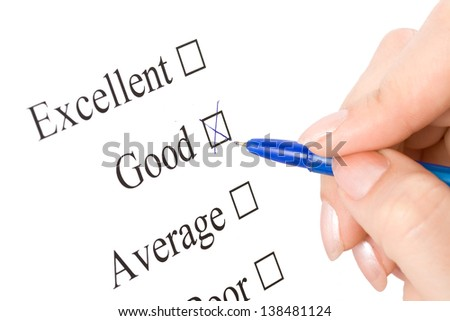 Pen is checking of the world Excellent, good in a survey