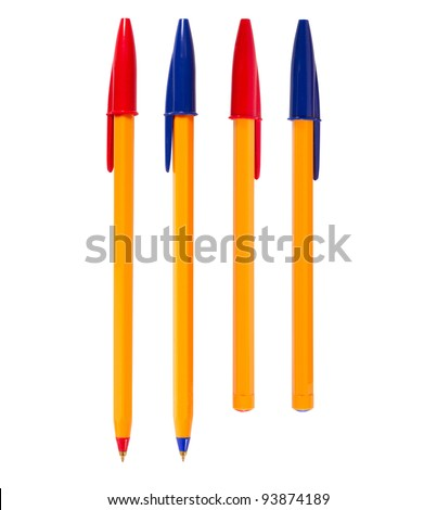 Pen isolated on white background, of different colors