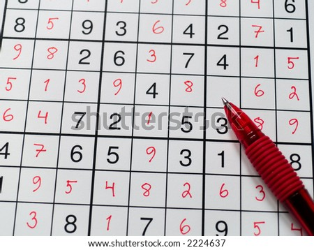 Pen on a sudoku grid