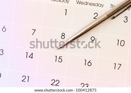 Pen on calendar page