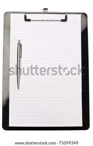 Pen on the left of note pad on a white background
