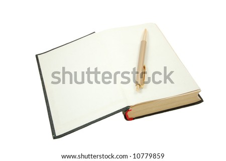 Pen on top of opened notebook