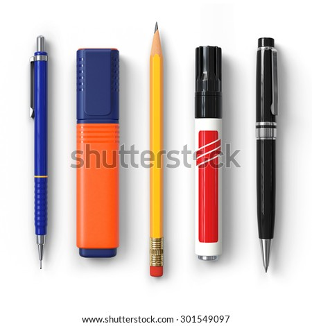 Pen.Pencil.Marker.Highlighter.Ballpoint.Set.Realistic 3D rendering.Isolated on white background.Top view.