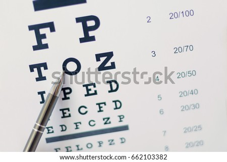 Pen pointing to letter in eyesight check table #662103382