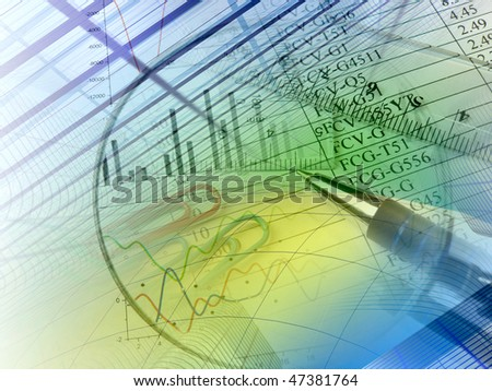 Pen, ruler and buildings against the table - collage. - stock photo