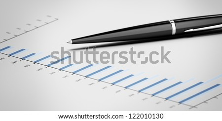Pen showing a diagram isolated on a white background