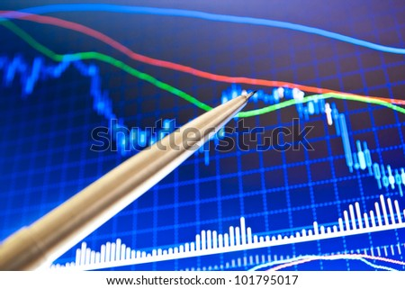Pen showing a financial chart on screen