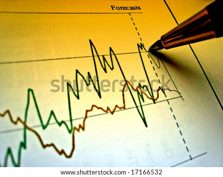 Pen showing diagram on financial report 28