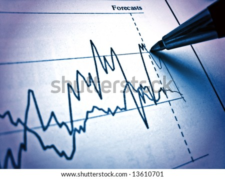 Pen showing diagram on financial report 12. Light & blue