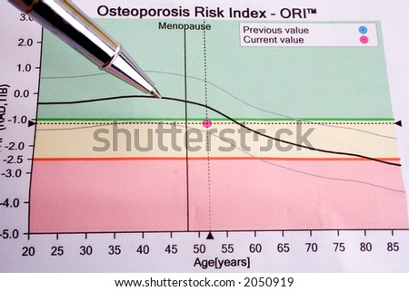 Pen showing diagram on osteoporosis risk