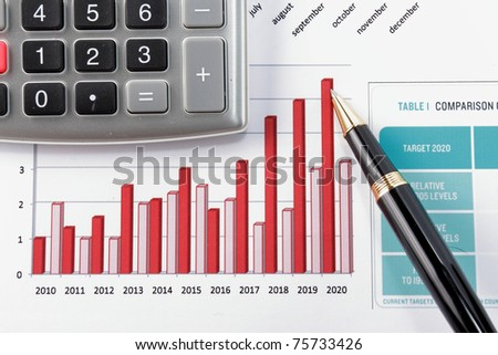 pen showing diagram on year financial report