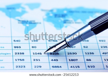 pen showing product list,analyzing global sales