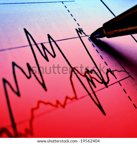Pen showing red diagram on bad financial report 34