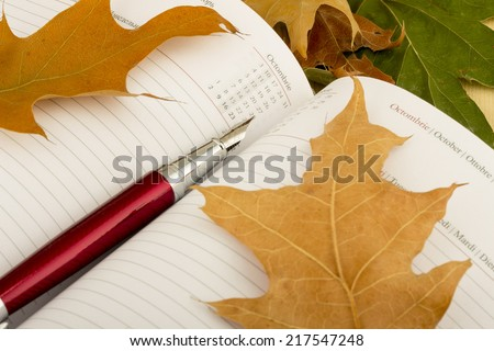 Pen sitting on the notebook with colorful autumn leaves