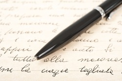 pen with hand written letter