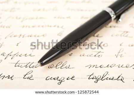 pen with hand written letter #125872544