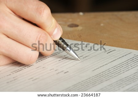 pen work hand work, signature - stock photo