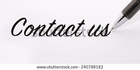 Pen write contact us on paper
