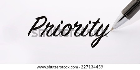Pen write priority word on paper