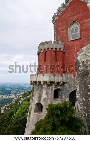 Pena National Palace (Palacio Nacional da Pena)  the oldest palace inspired by European Romanticism. Located on the top of a hill above the town of Sintra, Portugal. UNESCO World Heritage Site