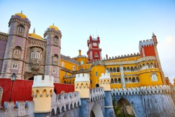 Pena Palace in Sintra, Lisbon, Portugal. Famous landmark. Most beautiful castles in Europe