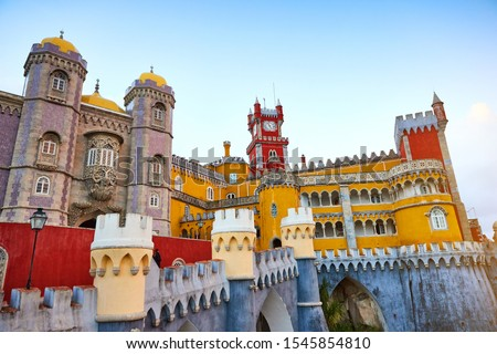 Pena Palace in Sintra, Lisbon, Portugal. Famous landmark. Most beautiful castles in Europe Foto stock ©