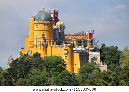 Pena Palace in Sintra, Portugal. Romanticism architecture. #1113389888
