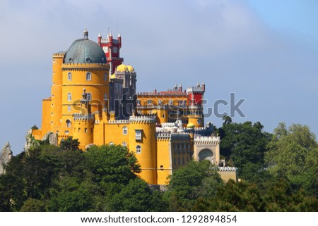 Pena Palace in Sintra, Portugal. Romanticism architecture. #1292894854