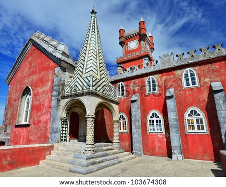 Pena Palace is the most complete and notable example of Portuguese architecture in the Romantic period. It was built in 1839 on the rocky peaks of the Serra de Sintra, Portugal