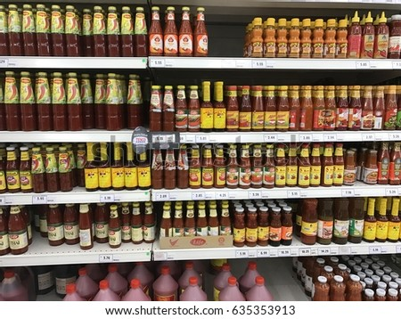 Penang, Malaysia - April 19, 2017: Shelf view of a Tesco supermarket store.  #635353913