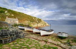 Penberth Cove in Cornwall, a quiet unspoilt traditional working fishing village on the Lands End Peninsular