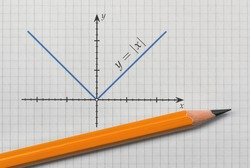 Pencil and a graph of absolute value function on bright background