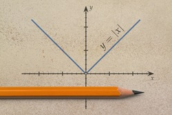 Pencil and a graph of absolute value function on grunge background