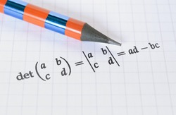 Pencil and calculation of the determinant of a matrix on bright background