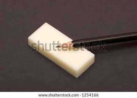 pencil and eraser - stock photo