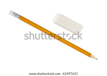 Pencil and eraser isolated on white with clipping path