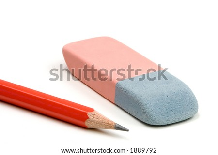 Pencil and eraser isolated over a white background